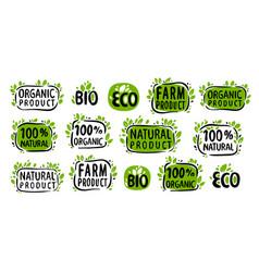 natural organic food symbol set stickers vector image