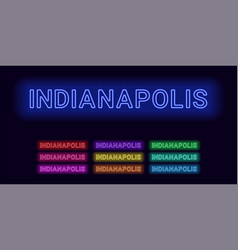 Neon name of indianapolis city vector
