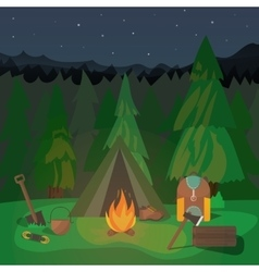Night Campfire Design vector image