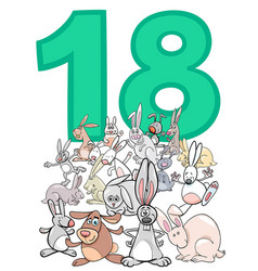 Number eighteen and cartoon rabbits group vector