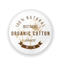 Organic cotton label vector image