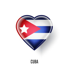 patriotic heart symbol with cuba flag vector image