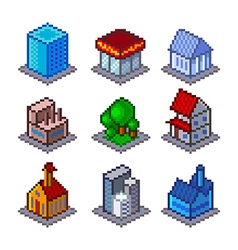 Pixel isometrical city buildings icons set vector
