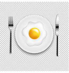 Plate with fried eggs fork and knife transparent vector