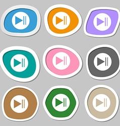 play button icon Multicolored paper stickers vector image