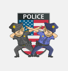 Police dabbing with american background vector