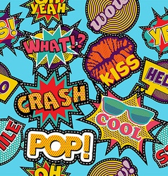 Pop art cartoon patch icon seamless pattern vector
