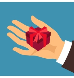 Postcard man hand holding a gift box vector
