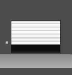 Realistic detailed 3d white shutter door vector