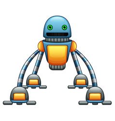Robot spider cartoon with green eyes isolated on w vector