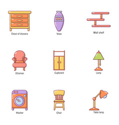 Room wooden product icons set cartoon style vector