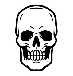 scary human skull tattoo template vector image
