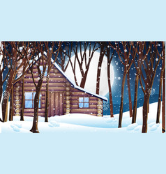 scene with wooden hut in snow winter vector image
