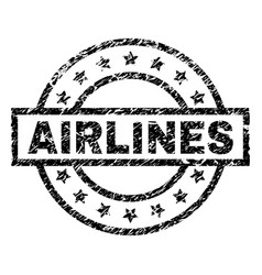 Scratched textured airlines stamp seal vector