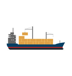 Sea freight icon with container ship vector