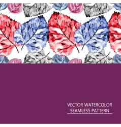Seamless pattern of red and blue leaves vector
