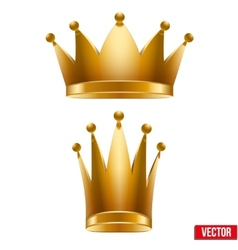 Set of gold classic royal crowns king and queen vector