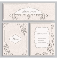 Set ornament vintage cards and invitations vector image