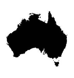 silhouette map of australia in black isolated on vector image