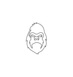 Single continuous line drawing gorilla head vector