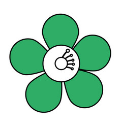 Single green flower icon image vector