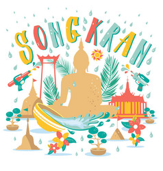 Songkran festival in thailand april hand drawn vector