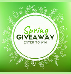 Spring giveaway promotional card for instagram vector