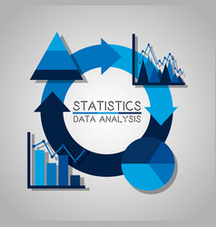 statistics data analysis business pie chart vector image