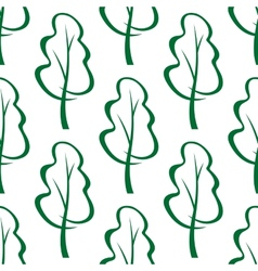 Stylized green trees sketch seamless pattern vector image