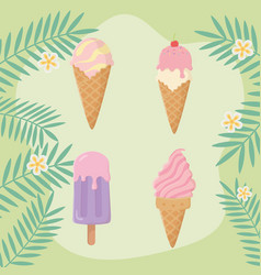 summer holiday poster with set ice creams vector image