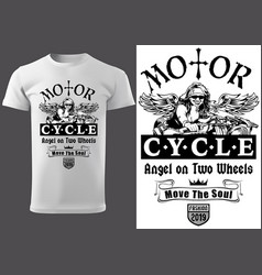 T-shirt design with motorcyclist woman vector