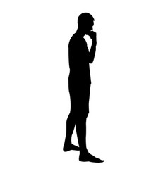 thinking man standing silhouette pensive person vector image