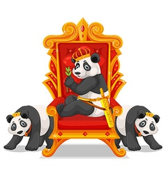 Three pandas at the throne vector image