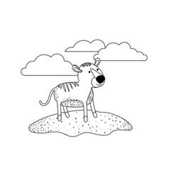 tiger cartoon in outdoor scene with clouds in vector image