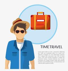 time travel man tourist sunglasses hat suitcase vector image