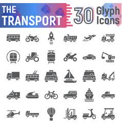 Transport glyph icon set vehicle symbols vector