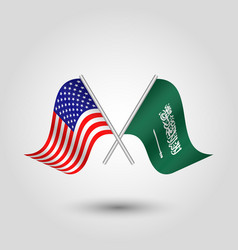 Two crossed american and arabian flags vector