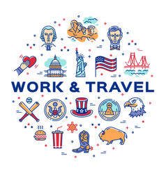 Usa linear icons work and travel usa circle vector
