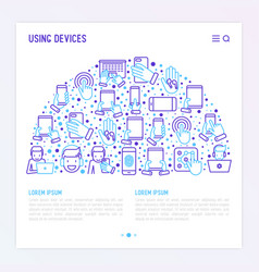using devices concept in half circle vector image