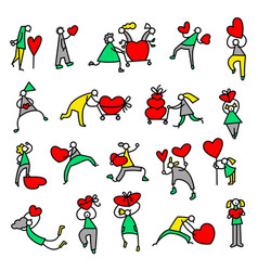 Valentine day people icons thin simple pictograms vector