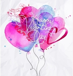 Valentines day balloon hearts vector image