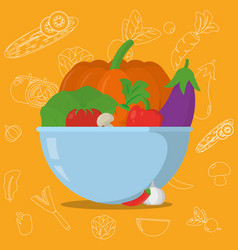 vegetables in bowl cartoons vector image
