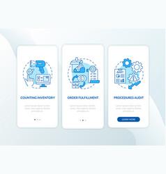 Warehouse procedures blue onboarding mobile app vector