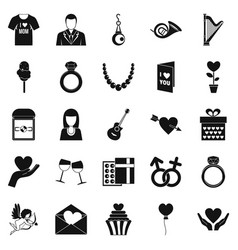 Wedding apparel icons set simple style vector