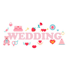 wedding word typography design in pink color vector image