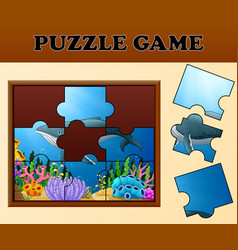 whale in undersea with puzzle concept vector image