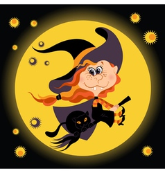 Witch halloween girl and black cat vector