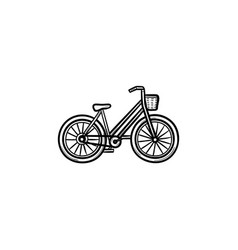 woman bike with basket hand drawn outline doodle vector image