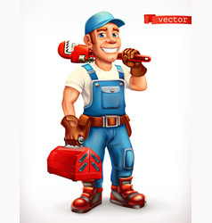 worker repairman cheerful character 3d icon vector image