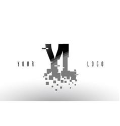 yl y l pixel letter logo with digital shattered vector image